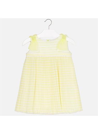 Mayoral Mayoral Kız Çocuk Pileli Elbise Sarı